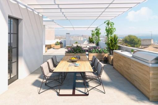 Exklusives Apartment mit skandinavischem Touch und sensationeller Dachterrasse in El Terreno, Palma