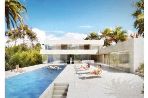 Außergewöhnliches Baugrundstück in Cala Blava mit Projekt und Meerblick