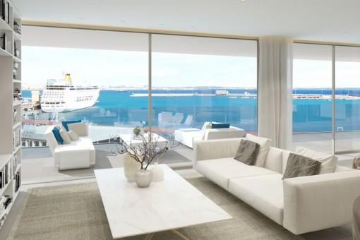 Heller Wohnbereich mit Panoramafenstern