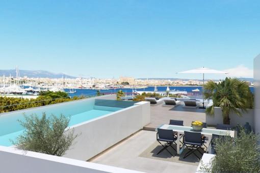 Neue Luxuswohnung mit Meerblick in der Nähe des Porto Pi in Palma