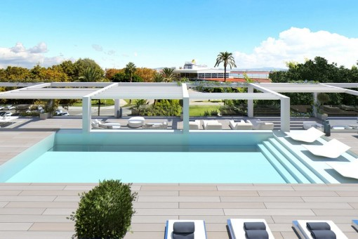 Penthouse mit Meerblick und Pool auf der Dachterrasse am Paseo Maritimo in Palma