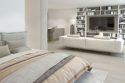 Offenes Schlafzimmer neben dem Wohnbereich