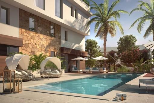 Traumhaftes Gartenduplex mit großem Pool und viel Privatsphäre in Cas Catala