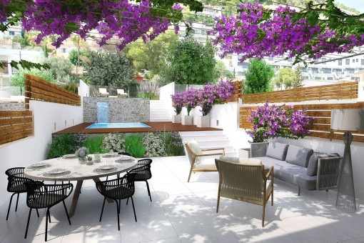 Neues Reihenendhaus in Genova mit Pool, Garten, Dachterrasse und Teilmeerblick