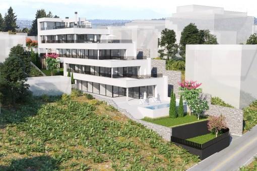 Baugrundstück mit Lizenz zum Bau von 4 Meerblick-Appartements in Sant Agustí