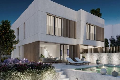 Neues elegantes Designerhaus mit Garten, Pool und Dachterrasse in San Agustin