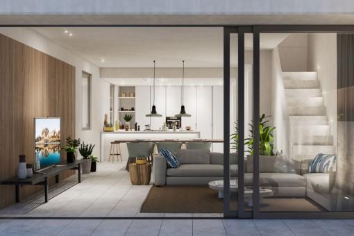 Moderner Wohnbereich mit Panoramafenstern