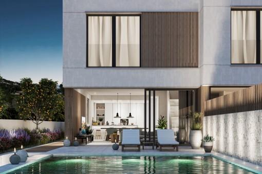 Neues, atemberaubendes Designerhaus mit Garten und Pool in San Augustin