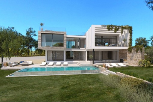 Projekt für ein schönes Einfamilienhaus mit Pool in Cala Vinyas
