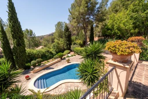 Blick zum idyllischen Poolbereich