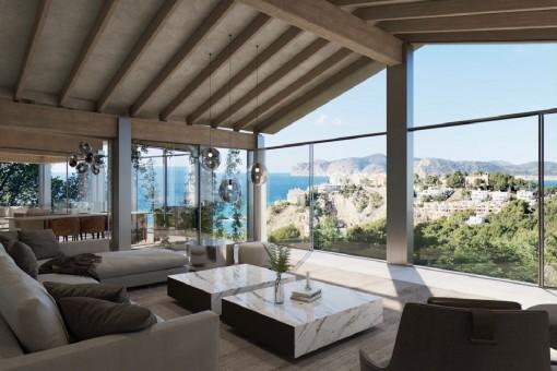 Fantastisches Projekt einer 4-Schlafzimmer-Villa mit wunderschönem Meerblick, Pool und SPA in Santa Ponsa