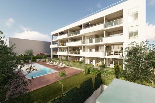 Neubau! Erdgeschosswohnungen mit privatem Garten, Gemeinschaftspool und Parkplatz in Cala Ratjada