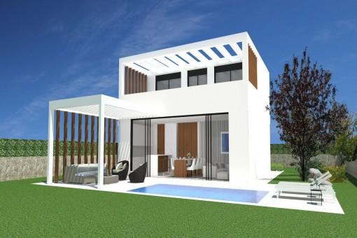 Moderne, helle Villa im Bau mit Pool in Cala Llombards