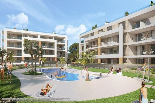 Moderne Erstbezugswohnung in toller Wohnanlage nur 500 Meter vom Meer entfernt in Portocolom