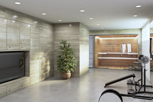 Privater Sauna- und Fitnessbereich