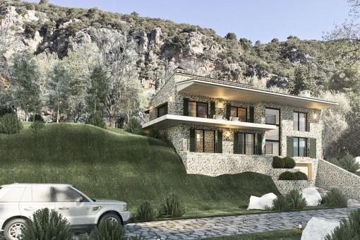 Frontansicht der schönen Villa