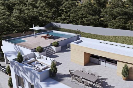 Spektakuläre Dachterrasse mit Pools