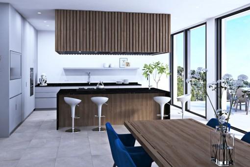 Große Küche mit Zugang zur Terrasse