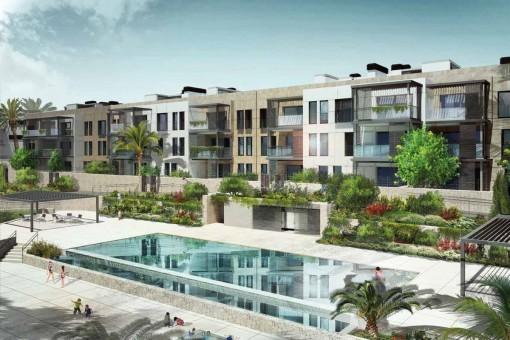 Penthouse mit Dachterrasse in einem Neubaukomplex im Grünen, direkt am Golfplatz, bei Son Vida