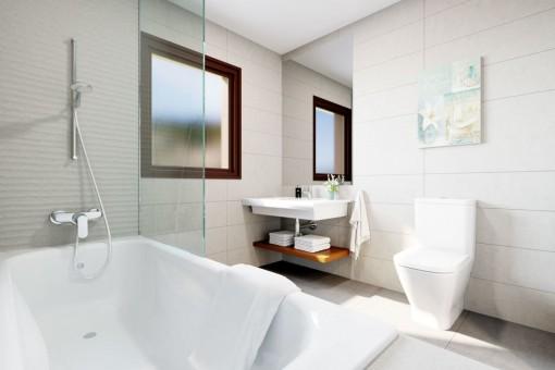 Gästebadezimmer mit Badewanne
