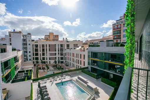 Schicke Designerwohnung mit Parkplatz und Gemeinschafts-Pool im Zentrum vom Palma, nur 100 Meter von der Altstadt entfernt