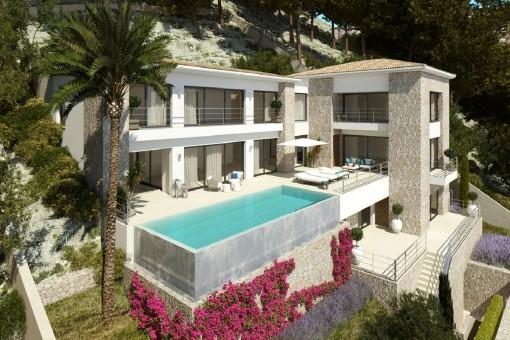 Grundstück in bester Lage mit Projekt in Puerto Andratx mit Infinity-Pool und 5 Schlafzimmer