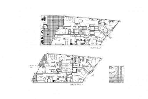 Plan der Erdgeschoss-Wohnung