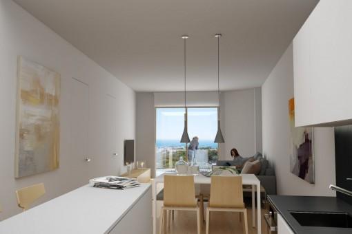 Moderner Wohn-, Ess-, und Küchenbereich