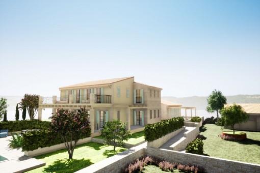 Neubau Luxus Finca auf großem Grünsdstuck mit Meerblick in der Nähe vom Leuchtturm Ses Salines