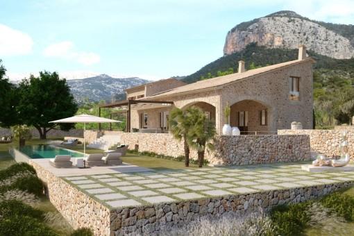 Luxuriöses Finca Neubauprojekt - schlüsselfertig – erstklassige Ausstattung und einmaliger Blick über die Landschaft und auf den Puig d'Alaró