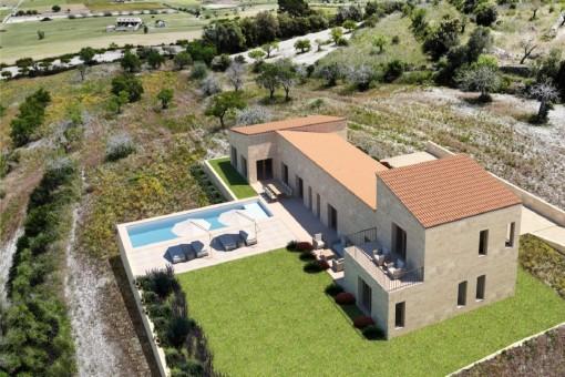 Fincagrundstück in erhöhter Lage bei Montuiri mit interessanten Basisprojekt