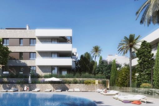 Luxuriöses 4 SZ Neubau Eck-Penthouse mit West Ausrichtung und Dachterrasse nahe Golfplatz Son Quint in Son Rapinya