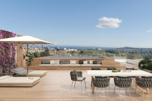 4 SZ Neubau Penthouse mit Dachterrasse in luxuriöser Anlage nahe am Golfplatz Son Quint in Son Rapinya