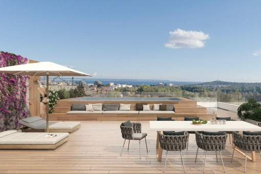 Neubau-Penthouse mit Dachterrasse am Golfplatz Son Quint in Son Rapinya