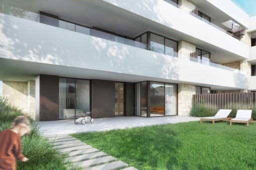 Erdgeschoss-Wohnung mit Garten in schickem Neubauprojekt am Golfplatz Son Quint in Son Rapinya
