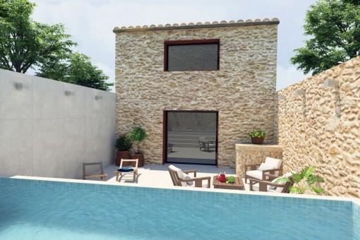 Neuwertiges Stadthaus mit Patio und Pool in Llubí