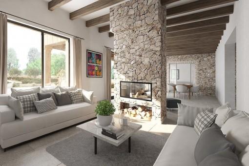 Offener Wohnbereich mit Kamin
