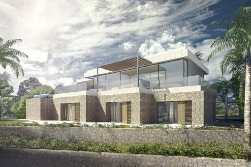 Projektfür eine moderne Luxusvilla in Costa d'en Blanes