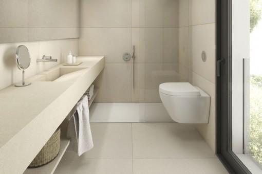 Elegantes Badezimmer mit ebenerdiger Dusche