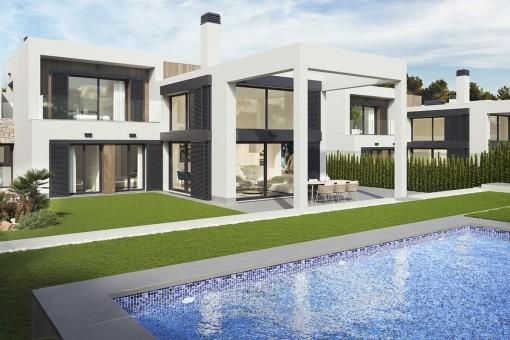 Moderne stylische Neubauvilla auf großzügigem Grundstück und Pooloption