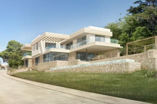 Moderne Neubauvilla im Beachhouse-Stil mit Meerblick in Santa Ponsa