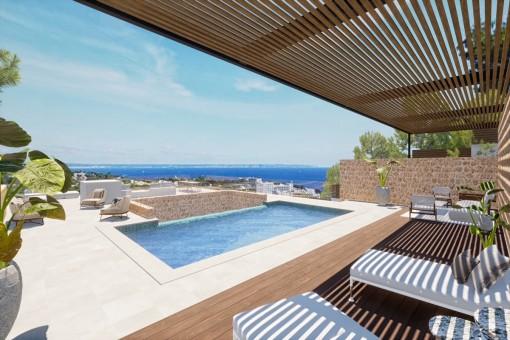Bestehende Meerblick-Villa mit genehmigtem Projekt in Costa den Blanes