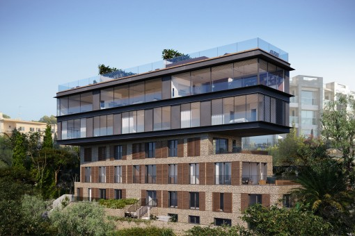 Duplex Penthouse mit riesiger Dachterrasse und eigenem Pool in Cala Mayor