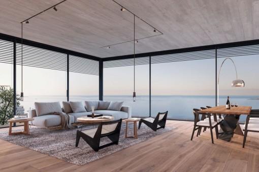 Luxuriöses Apartment in zweiter Etage mit Terrasse, Pool sowie Meerblick in Cala Mayor