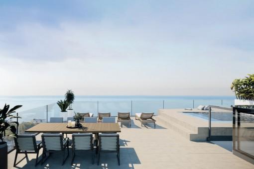 Duplex Penthouse mit geräumiger Dachterrasse und eigenem Pool in Cala Mayor