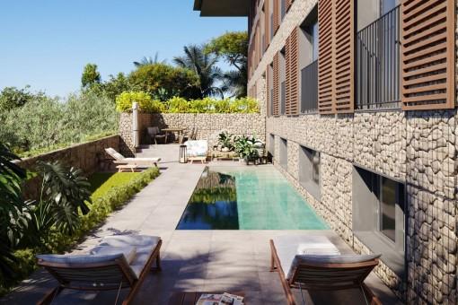 Luxuriöses Apartment im Erdgeschoss mit eigenem Garten sowie Pool in Cala Mayor