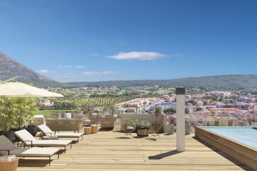 Moderne Dachgeschosswohnung in  Neubauwohnanlage mit Top-Weitblick in Santa Ponsa