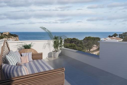 Modernes Neubauprojekt mit Meerblick in der Cala Santanyi, nur wenige Minuten vom Sandstrand entfernt