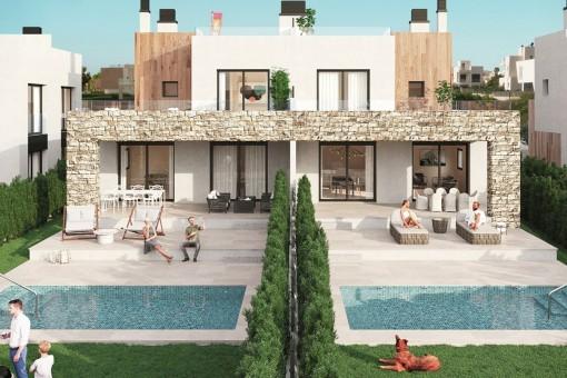 Die letzten vakanten Doppelhaushälften mit eigenem Pool in spektakulärer Wohnanlage beim Yachthafen Sa Rapita