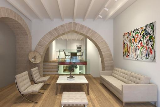 Einzigartiges Erdgeschoss-Apartment auf 3 Ebenen in einem historischen Neubauprojekt im Zentrum der Altstadt Palmas